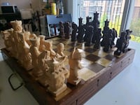 Chinese Handcarved Wooden Chess Set Intricate Detail!  Calgary, T2R 0S8