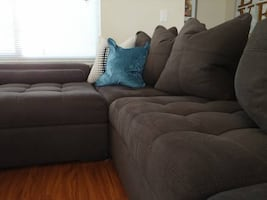 Oversized DEEP modern tufted chic designer couch with chaise lounge