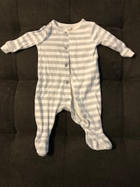 Joe Fresh 0-3 month footie pajamas. Grey and white. Great condition. Burnaby, V5A