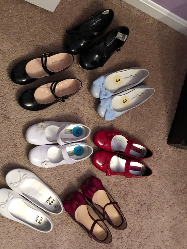six pairs of assorted shoes