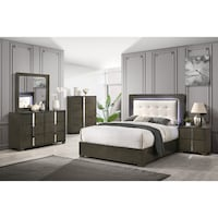 8 pcs Queen Bedroom Set with 3way LED Light