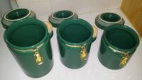 Green Ceramic Canister Set (3) Mansfield