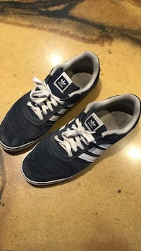 blue-and-white Adidas low-top skate shoes