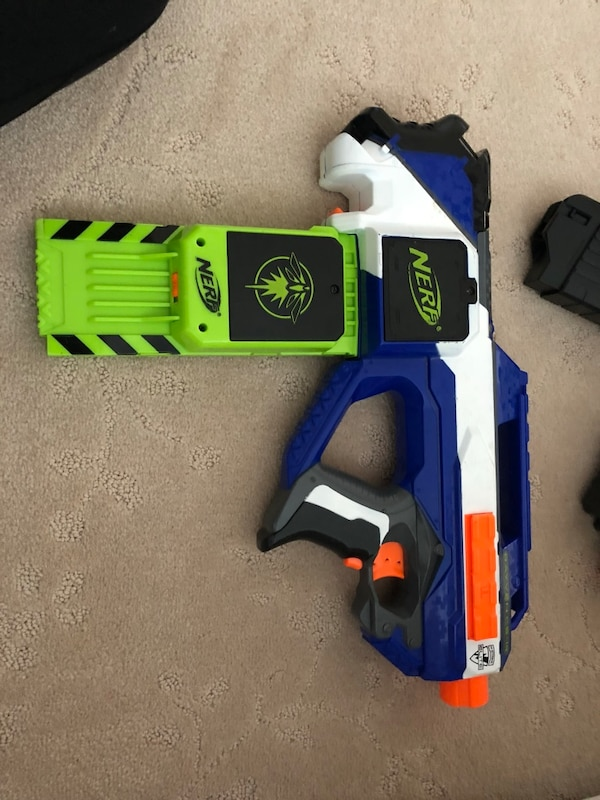 blue and orange Nerf gun