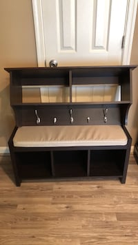 Wall Shelf with hooks and Seat bench- pending sale