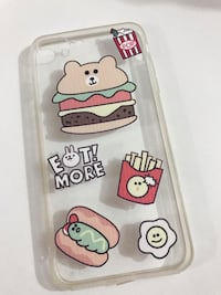 clear and multicolored Eat More iPhone case
