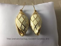 Trifari shell wire Earrings, Excellent Condition, $10 Chesapeake, 23320