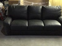 Black leather 3-seat couch