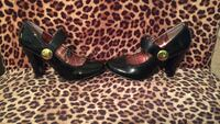 Sale Today*Black Retro heels w/gold button size 7