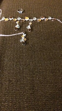 Brown stone embellished silver necklace, bracelet and earrings set Lawrence, 01841