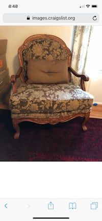 brown wooden frame white and brown floral padded armchair Sterling, 20166
