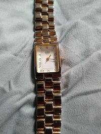 rectangular gold-colored analog watch with link bracelet Cedar Falls, 50613