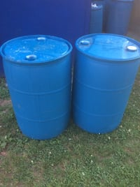 Two blue plastic water barrels $5 each 55 gallons New Haven, 06519