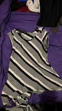 black and white striped scoop-neck sleeveless blouse Edmonton, T5B 1M5