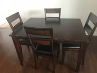 Rectangular brown wooden table with four chairs dining set Washington, 20202