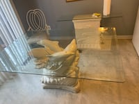 Glass Dolphin Dining Table, 6 Cast Iron Chairs, and Side Buffet Bowie, 20715