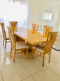 Rectangular brown wooden table with four chairs dining set Woodbridge, 22193