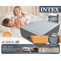 """NEW Intex Comfort Plush Elevated Dura-Beam Airbed, Bed Height 22"""", Queen Greenbelt"""