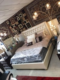 tufted beige leather bed and white and black mattress pack Houston, 77092