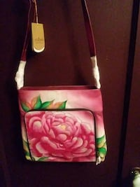 pink and green floral crossbody bag