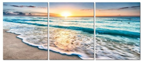 Seascape Beach at Sunset Canvas Wall Art Modern Living Room Bedroom  Home Decor