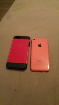 pink iPhone 5c with red case