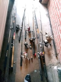 assorted-color fishing rods and reels good shape 2347 mi