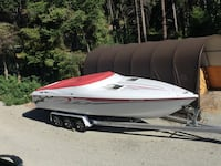 white and red speedboat Central Okanagan, V4T 1W2