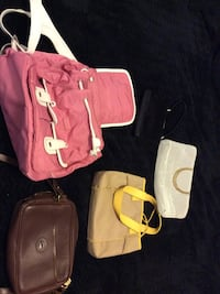 pink and white leather tote bag