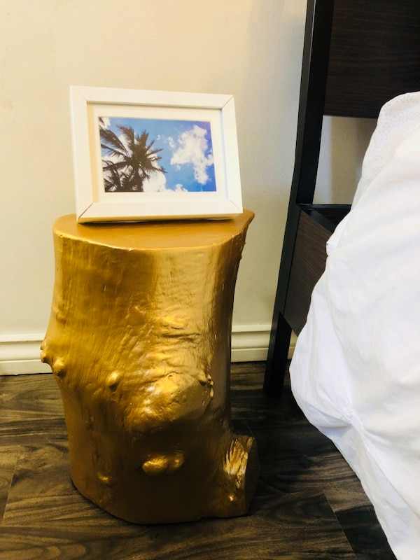 Decorative real wood golden side table/stump 2