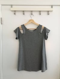Dark Grey Shoulder Cut Out Shirt Toronto, M6J 1J4