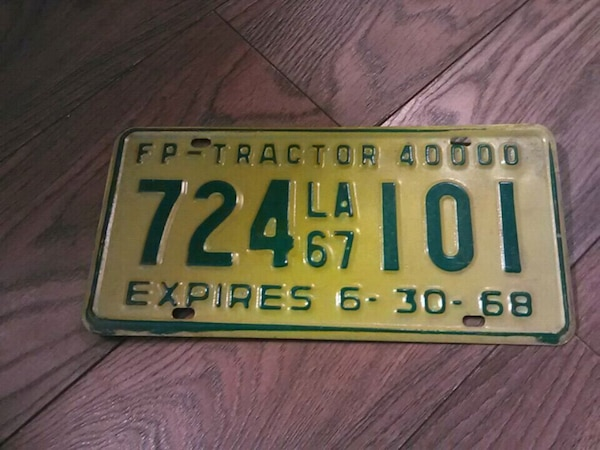 Vintage tractor plate 68 05230c6d-8ec8-42ae-a48c-3e298deaf0df