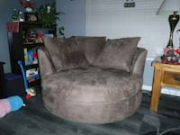 brown suede sofa chair with throw pillow Tracy, 95376