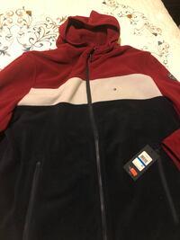 red and black zip-up jacket