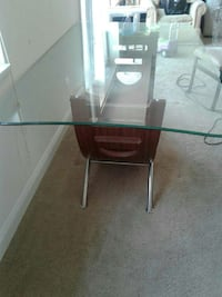 brown wooden base with glass table Gaithersburg, 20877