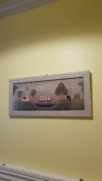 rectangular gray wooden framed painting of white lighthouse near tree and galleon ship Rocky Point, 11778