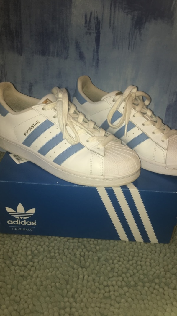 new styles 9101e 8ddb2 Used White blue gold adidas superstars size 7.5(comes with box) for sale in  Charlotte - letgo