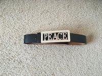 Peace Silver Bedazzled  Leather Belt Silver Spring