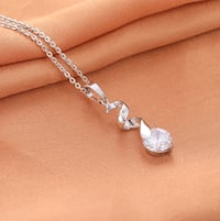 Silver plated CZ pendant chain necklace Plano, 75023