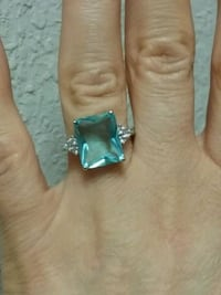 Brand new Blue Topaz 925 silver ring size 6 Broken Arrow, 74011