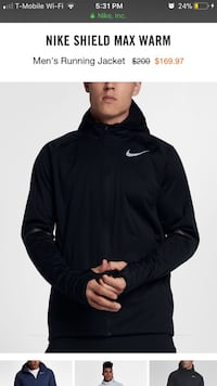 Men's black nike shield max warm jacket screenshot