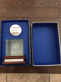 Rajai Davis Autographed Baseball with display case
