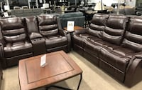 Genuine leather power reclining sofa and loveseat  Elgin