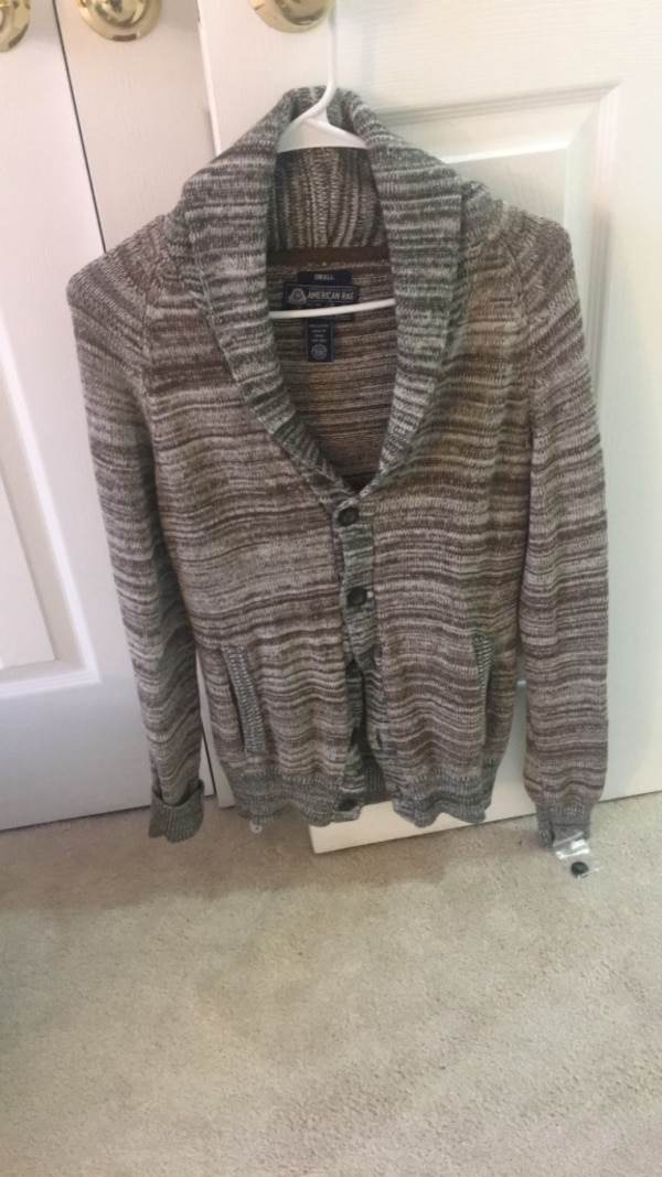Brand new men cardigan in brown and gray color size small