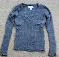 American Eagle Gray Cable knitted Long Sleeves Top Women's Medium