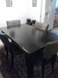 rectangular black wooden table with six chairs dining set Downey, 90241