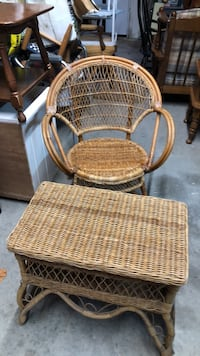 Wicker table with chair