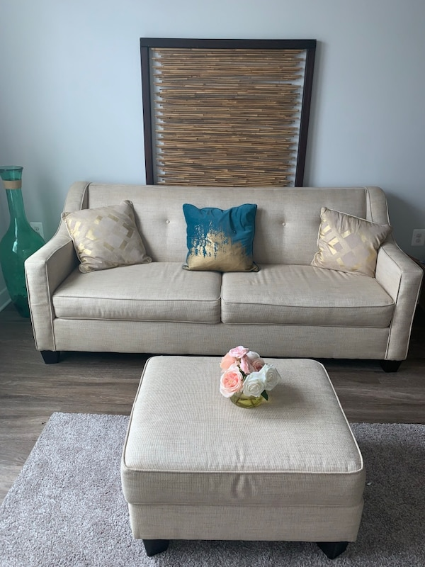Staging couch and ottoman for sale.