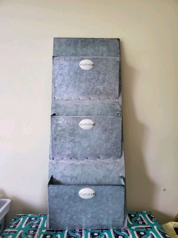 3 Tier galvanized letter holder  7fb2a87a-c144-46ce-8a6c-0bbbe7046b12