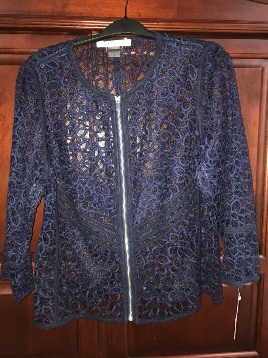 blue floral zip-up long-sleeved lace shirt